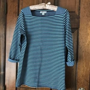 Coldwater Creek LightBlue/Navy Blue Striped Tunic